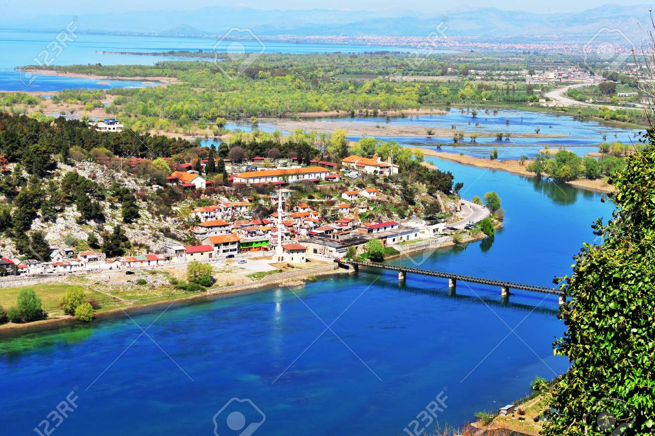 Aerial view on the village by river, Albania - 95964346