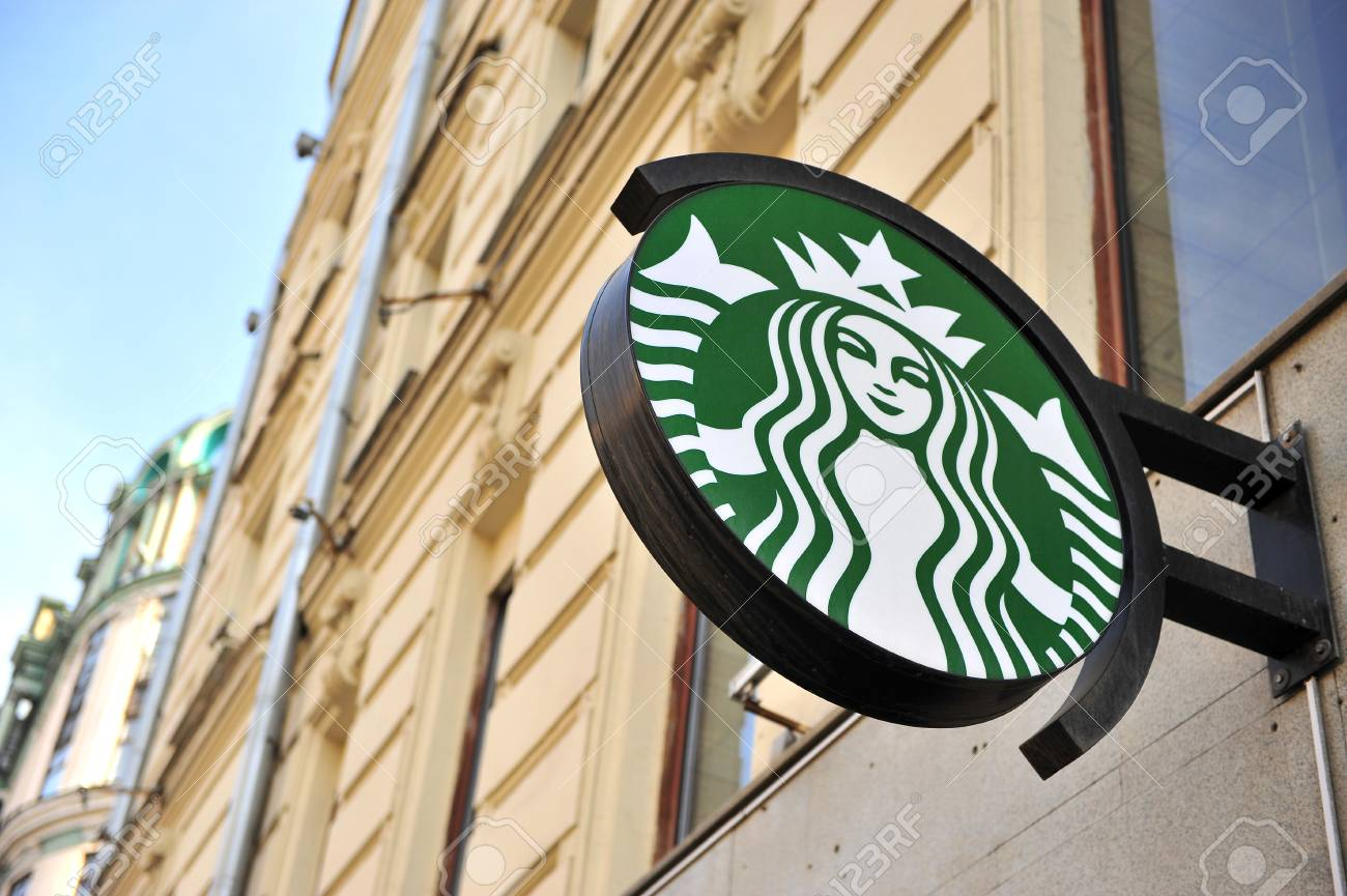 Moscow Russia May 02 Logo Of Starbucks Coffee Shop In Tverskaya Stock Photo Picture And Royalty Free Image Image 104637330