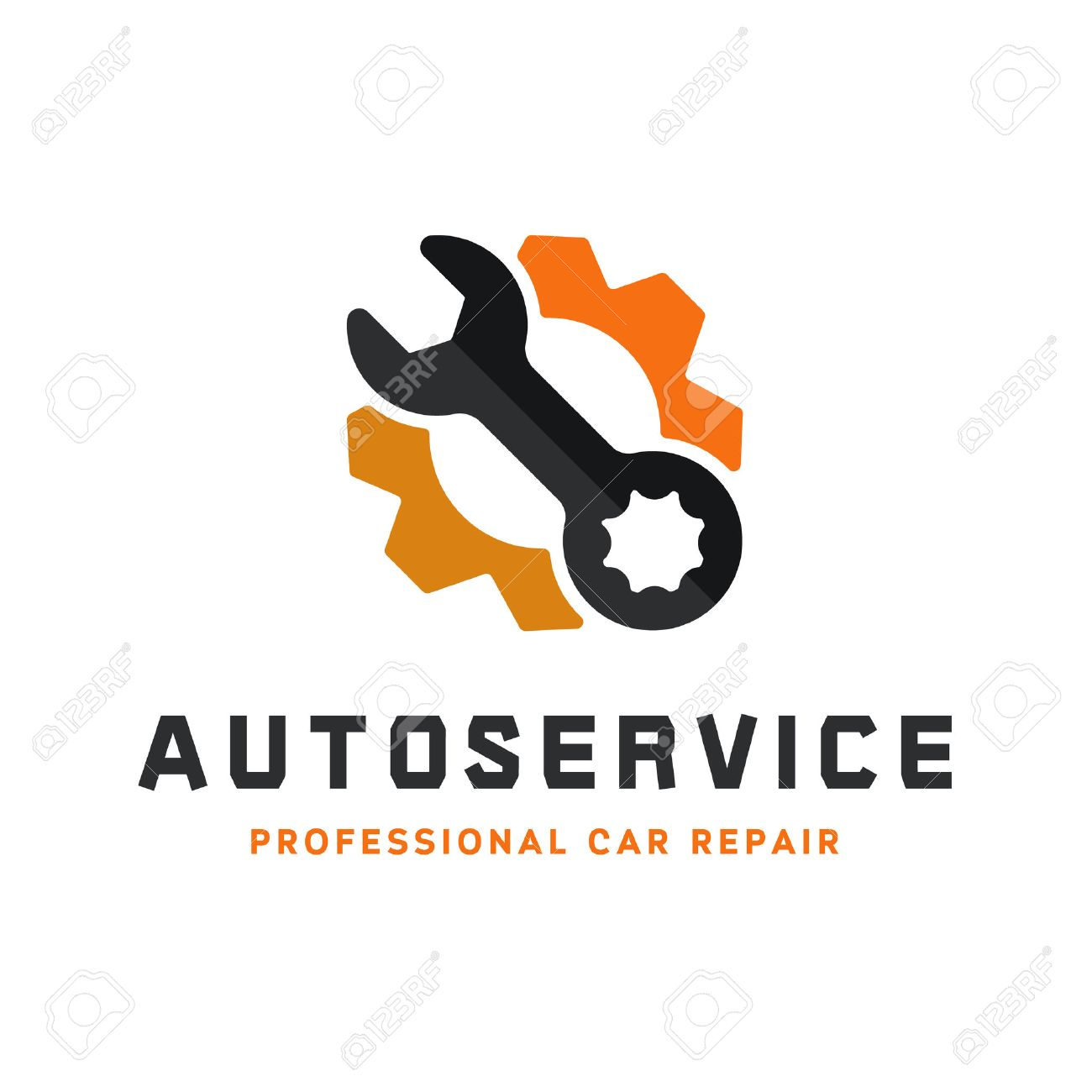 Service auto repair, wrench, logo sign flat - 52551182
