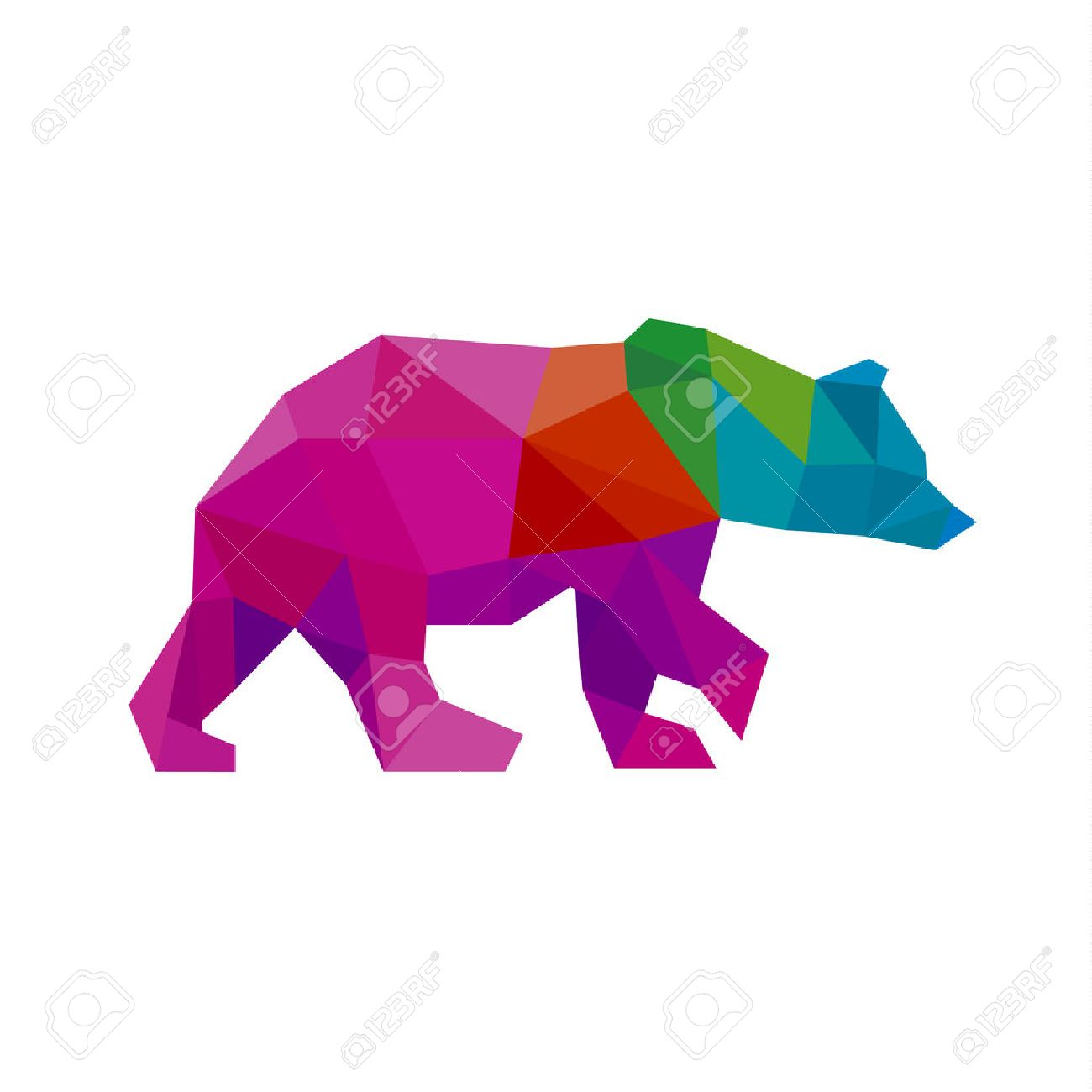 Bear color polygon rainbow in low poly style vector art - 55027527