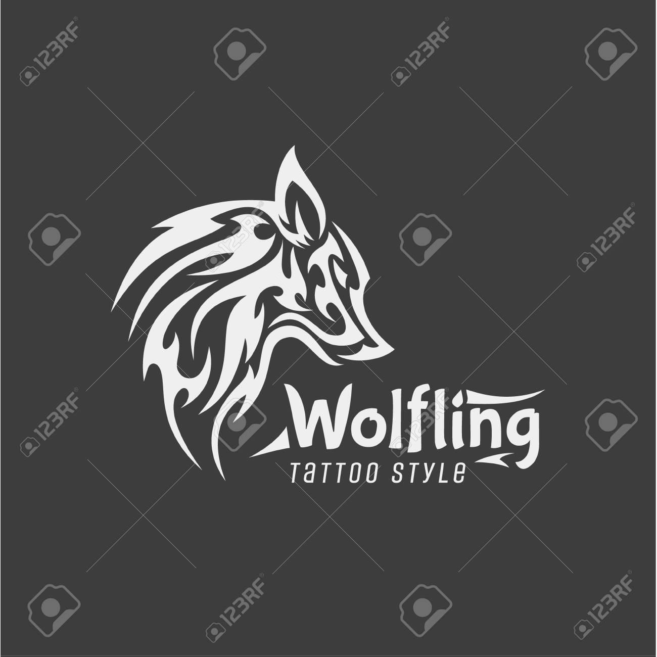 Wölfling Tattoo Stil Vektor-Mark Der Zeitgenössischen Design Design ...