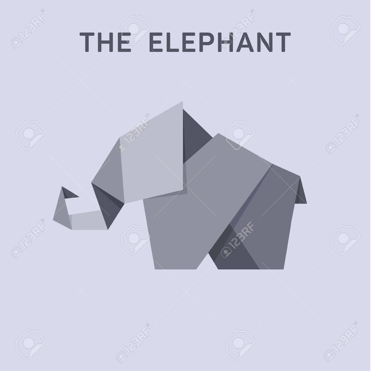 Origami Elephant Flat Style Design Illustration Animals Art Stock Vector