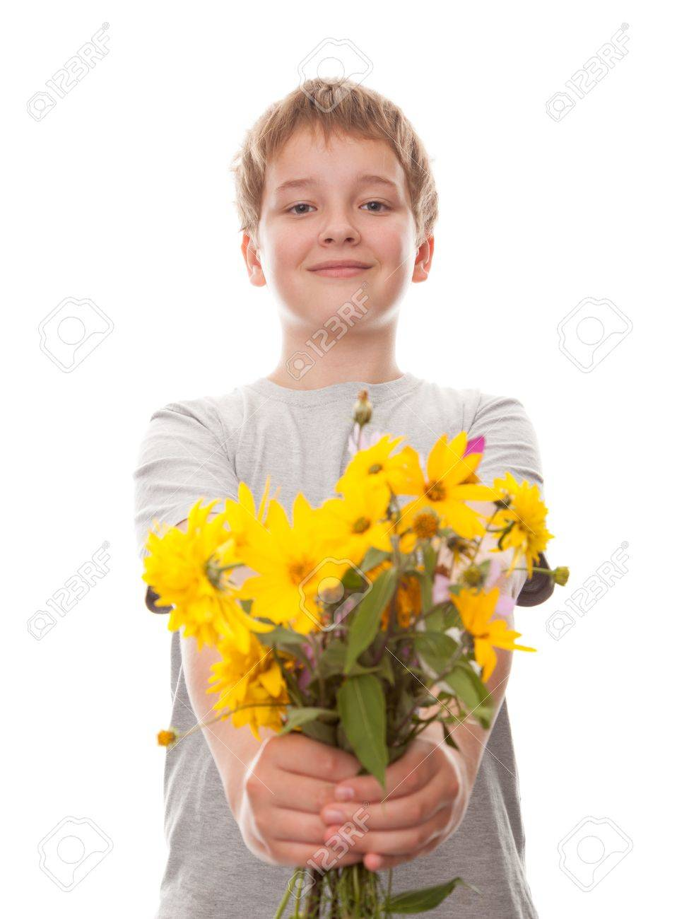 boy with a bouquet of flowers , isolated on white Stock Photo - 15063756