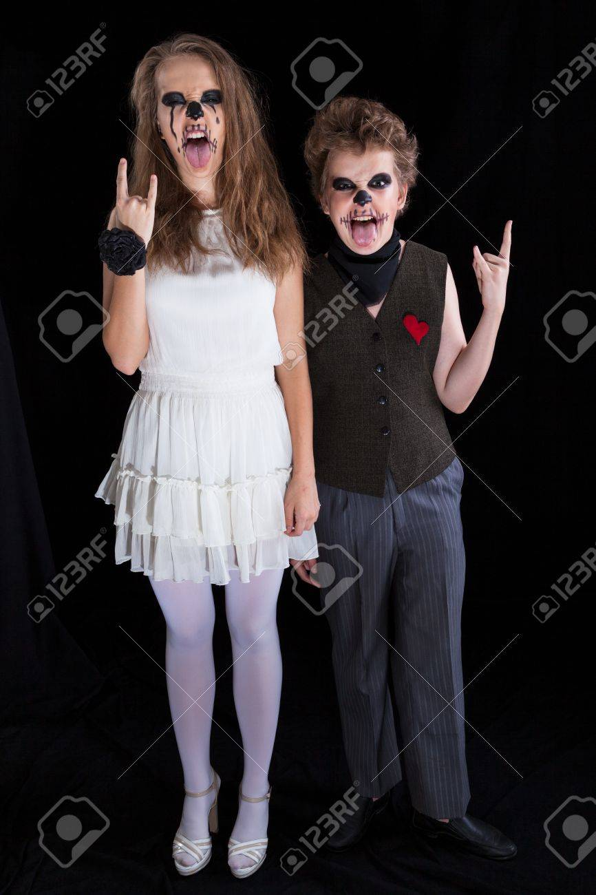 Bride And Groom Halloween Costume.Groom And Bride Zombie Children Have Put On For Halloween
