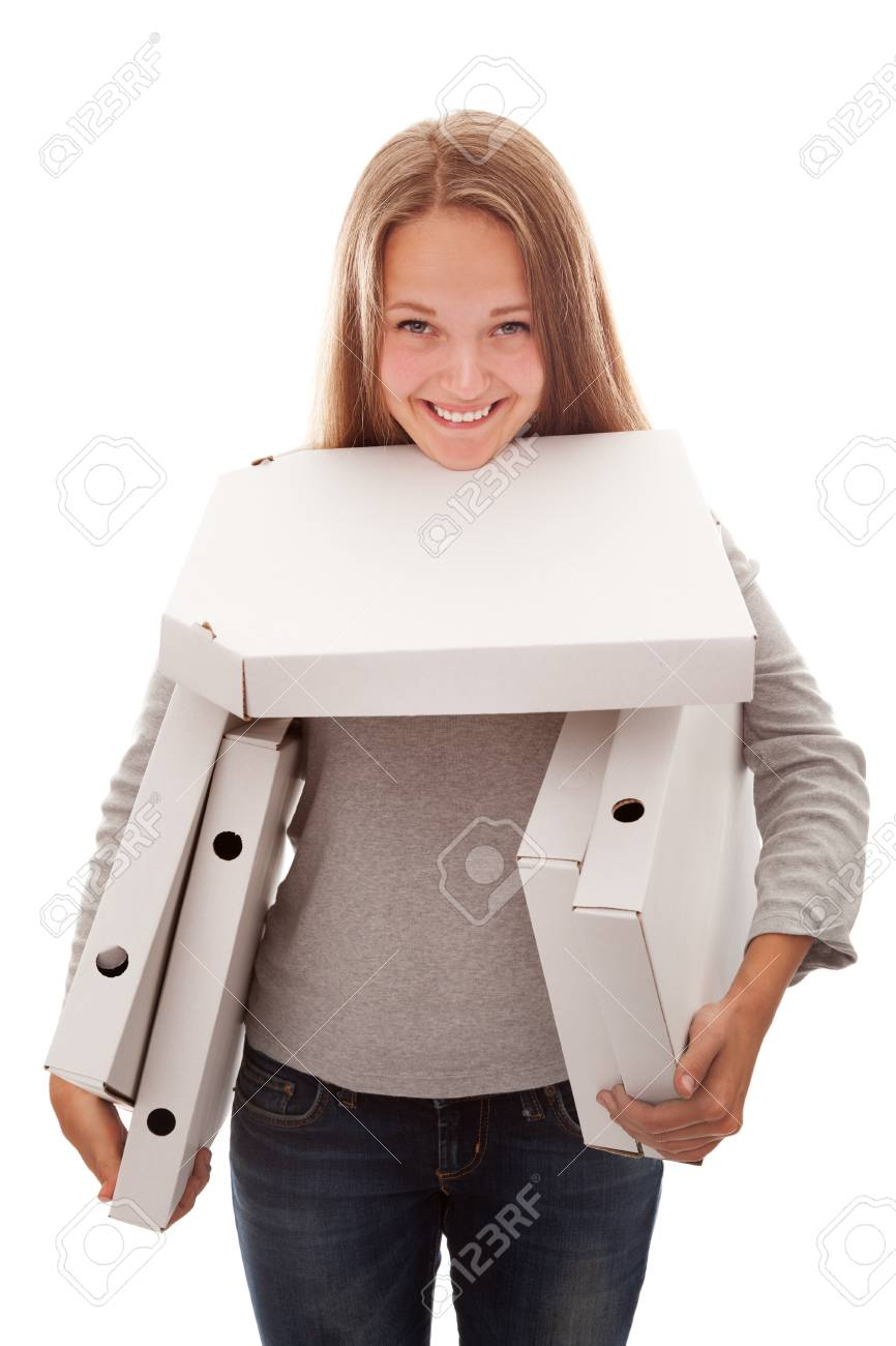 The girl smiles and has   a box for a pizza on a white background Stock Photo - 16991954