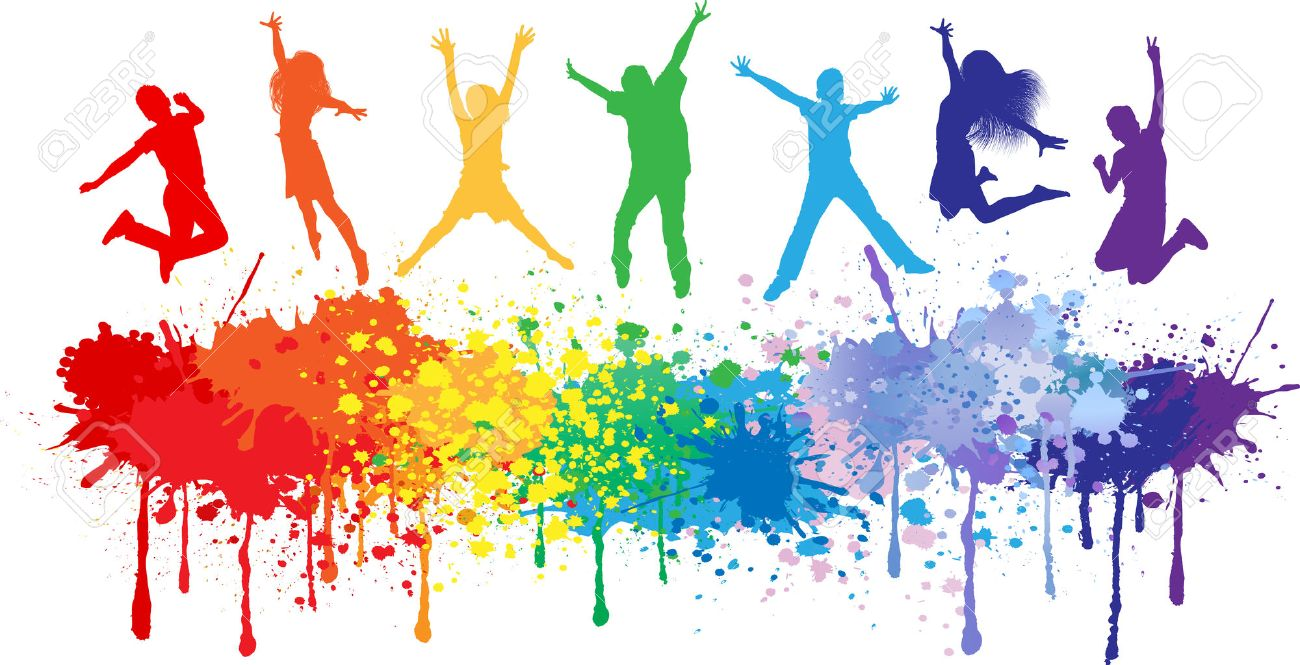 Colorful bright ink splashes and kids jumping on white background - 28069570