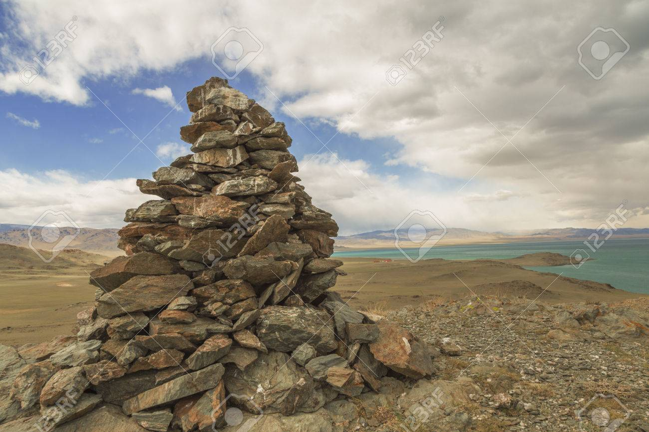 A pile of stones composed for shaman or pagan rituals in Mongolia