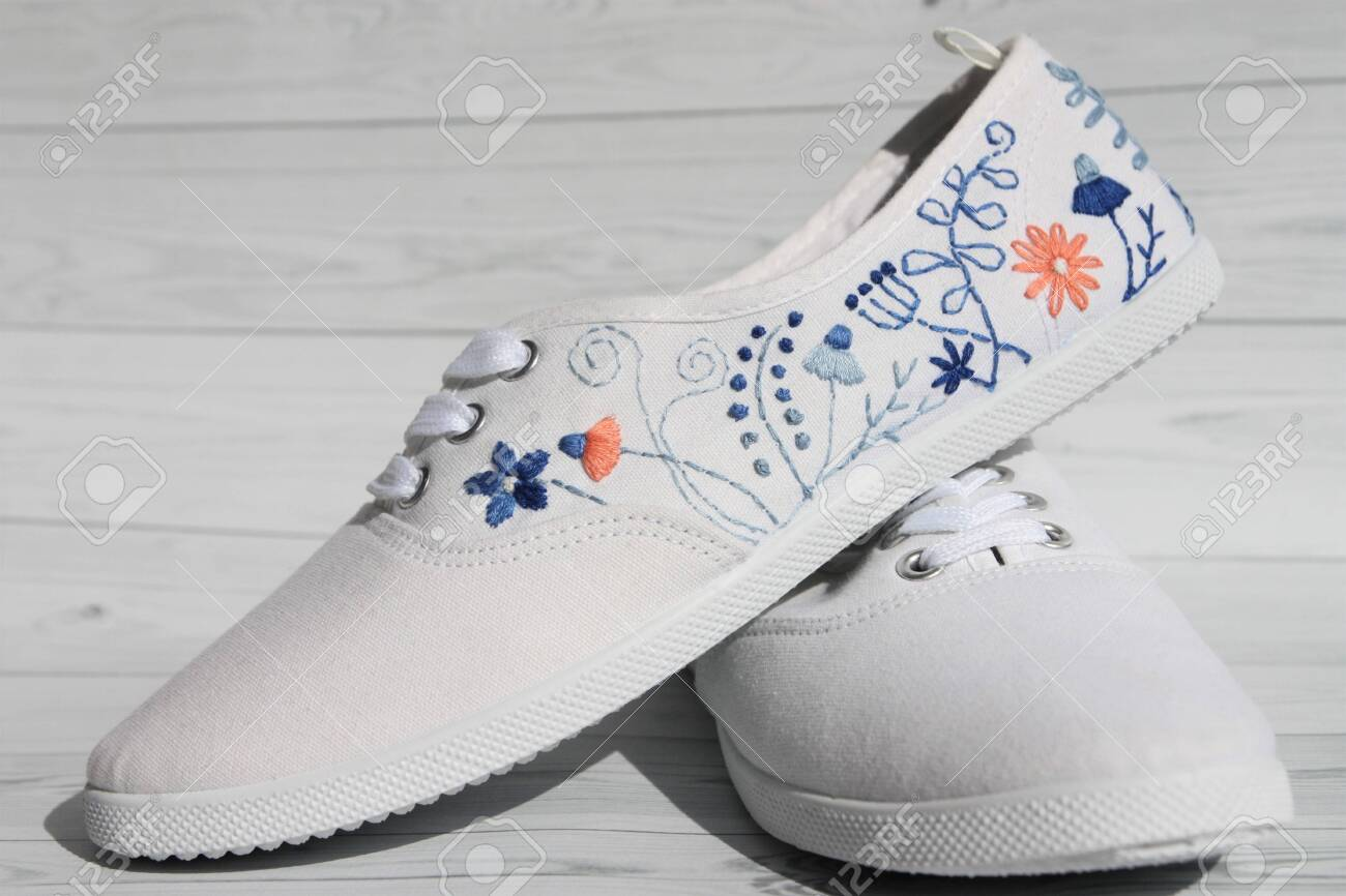 White Sneakers With Handmade Floral