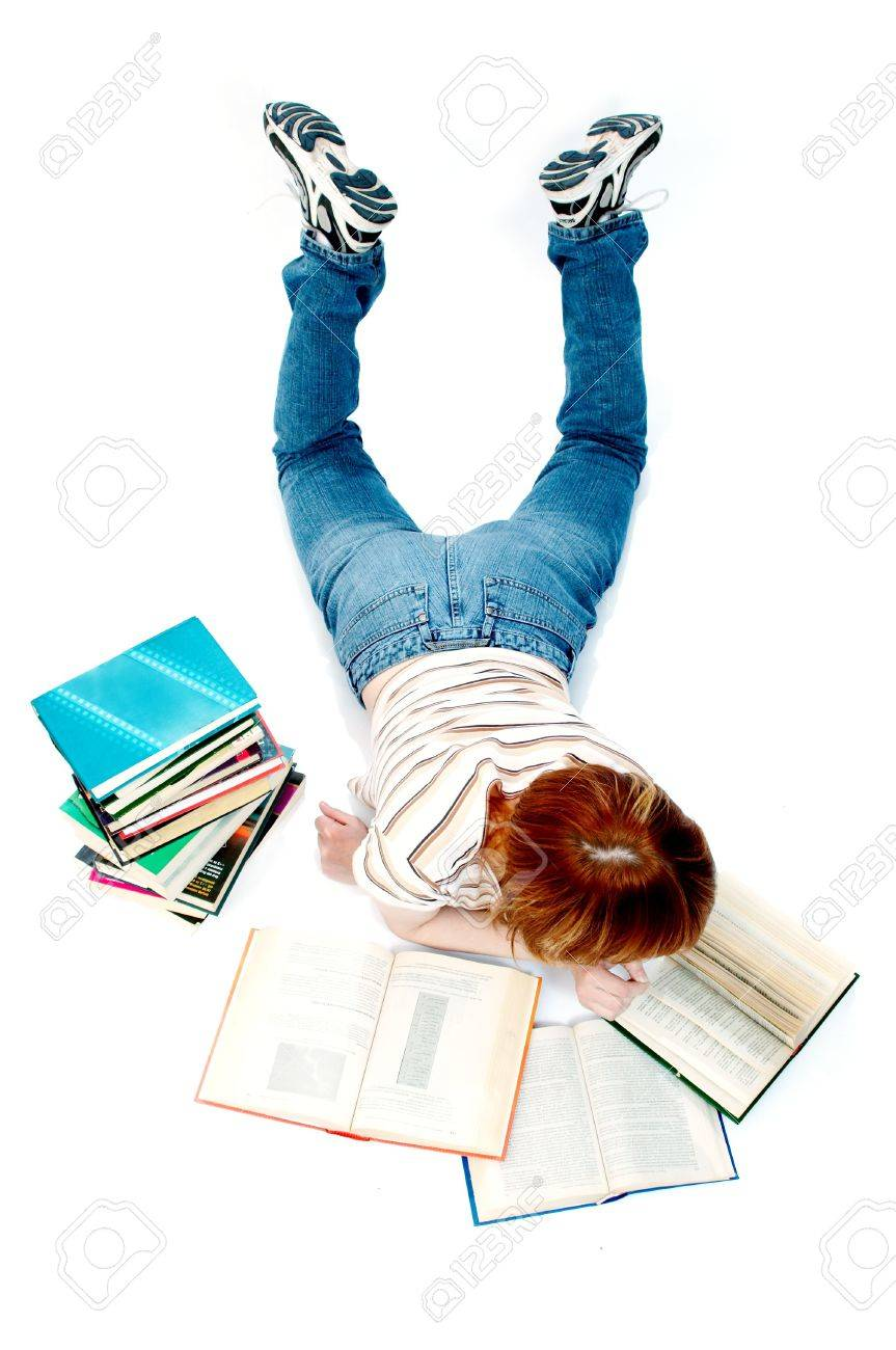 young girl read the book on white Stock Photo - 440919