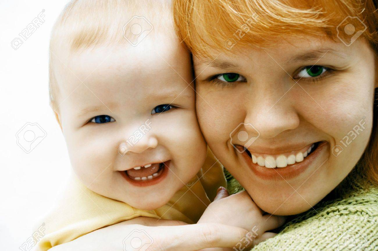 mother and baby on white Stock Photo - 440906