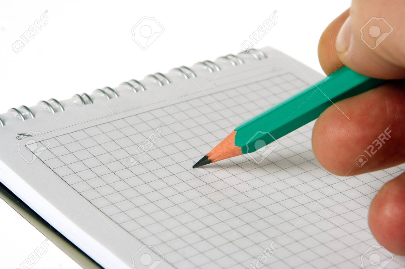 man hand write pencil in notebook on white Stock Photo - 864313