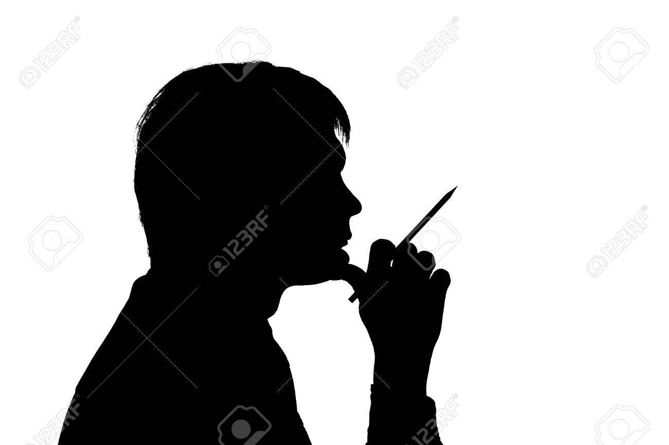 black silhouette man think on white background - 864374