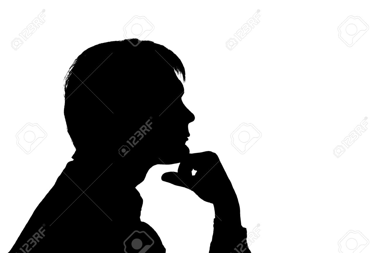 Black Silhouette Man Think On White Background Stock Photo, Picture ... for Person Thinking Silhouette  45gtk