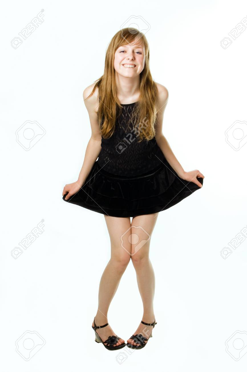 beauty teenager gerl in clothes on white Stock Photo - 1398362
