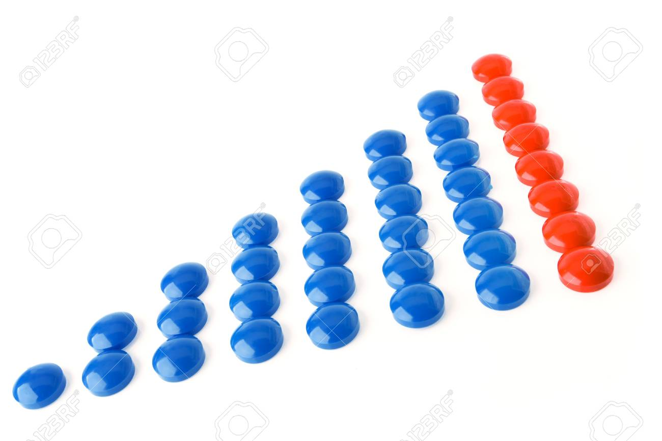 circle business graph blue and red over white background Stock Photo - 1951096