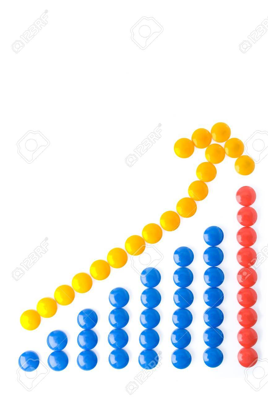 business circle graph blue and red with yellow arrow over white Stock Photo - 1951101