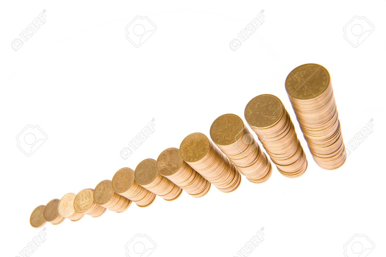 graph from money twelve columns progress over white background Stock Photo - 2081276