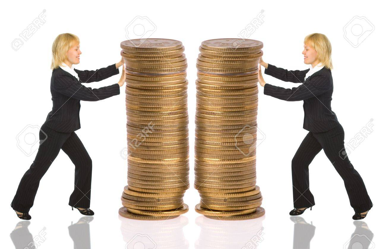 two businesswomen push rouleau money on white Stock Photo - 2336180