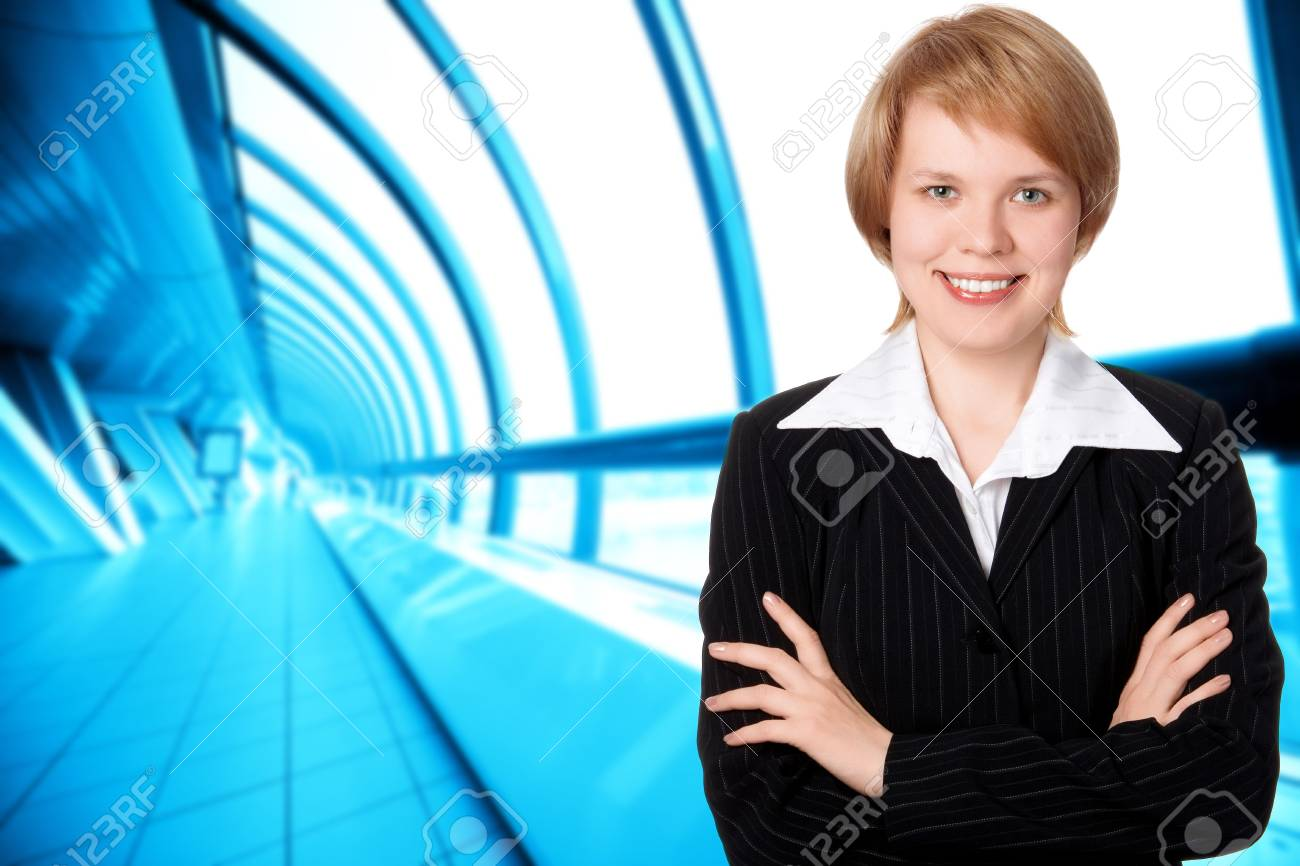 business woman on modern interior in blue Stock Photo - 3858874