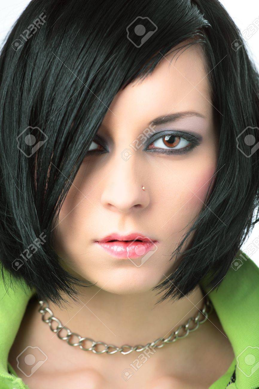 portrait of emo girl closeup beauty face Stock Photo - 4249458