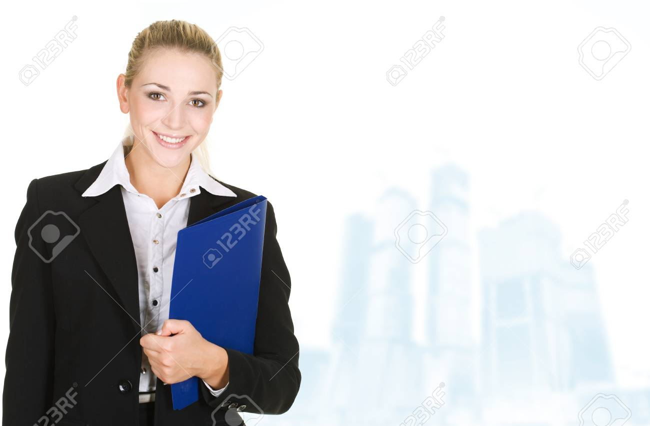business woman in modern glass interior Stock Photo - 10019051