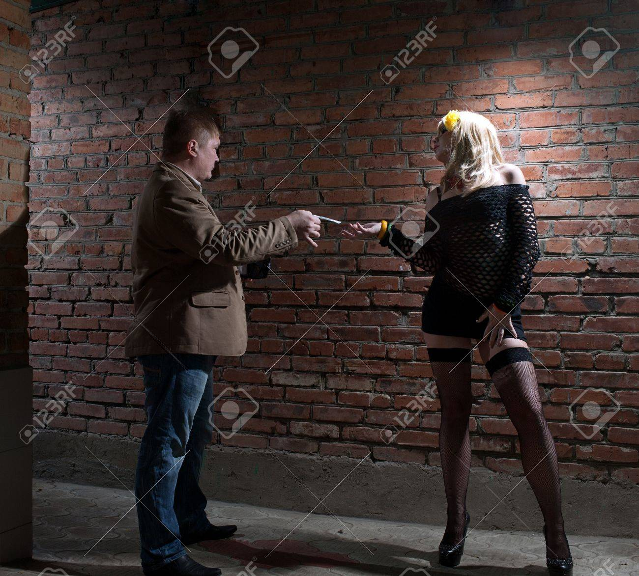 client and prostitute in gateway Stock Photo - 13411290