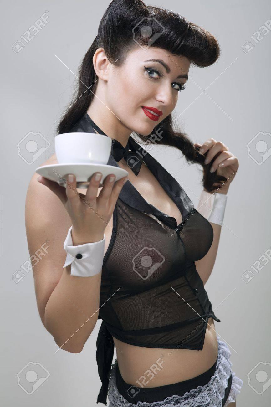 beauty waitress in sexy dress Stock Photo - 17507069