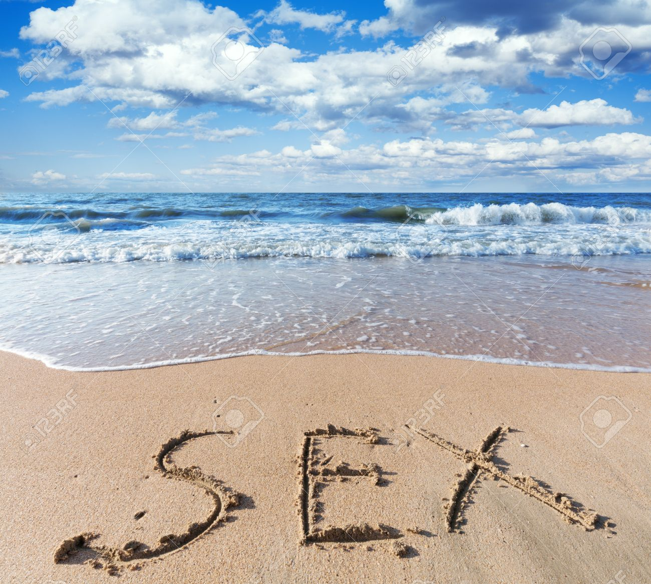 Sea Beach With Sand Word Sex Stock Photo 21351348