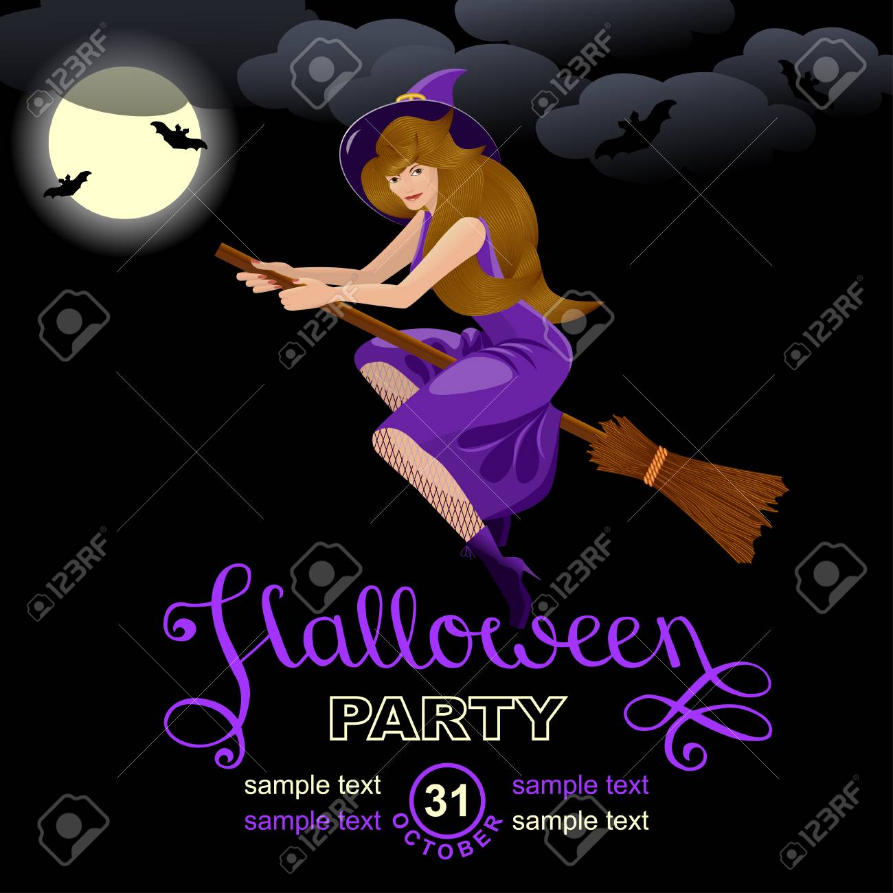 halloween party invitation card design template with witch
