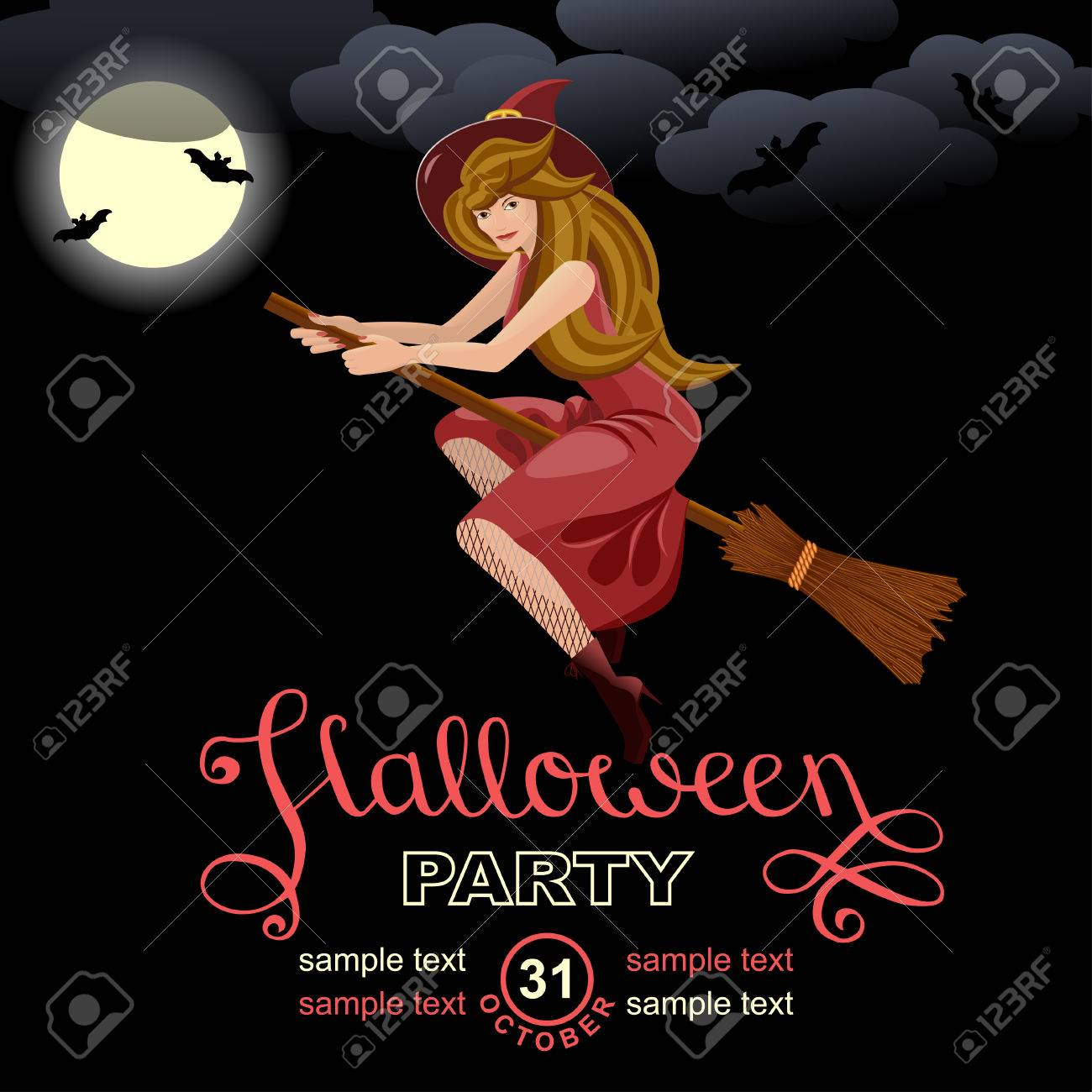 Halloween Party Invitation Card. Design Template With Witch ...