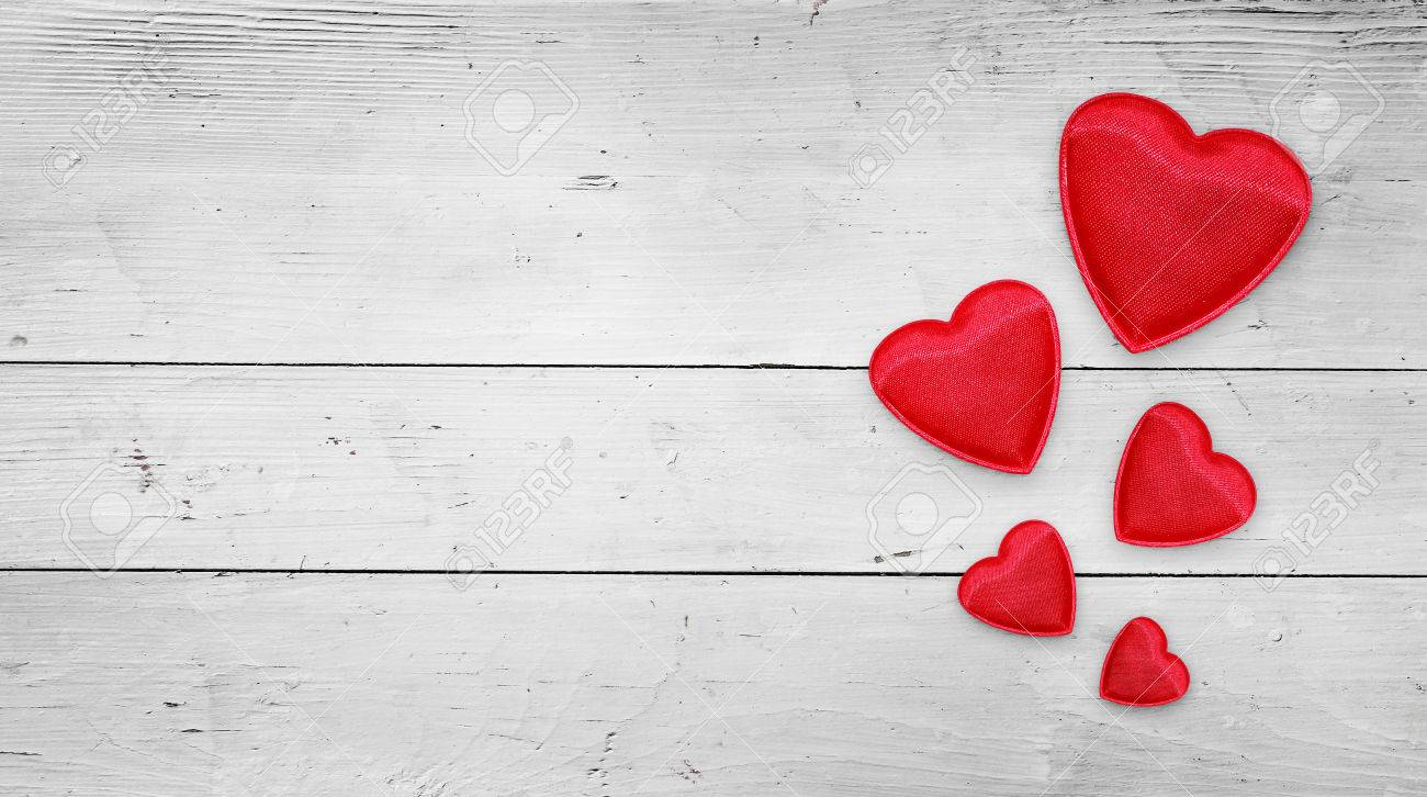 Red Hearts On Wood Valentines Day Background Stock Photo Picture