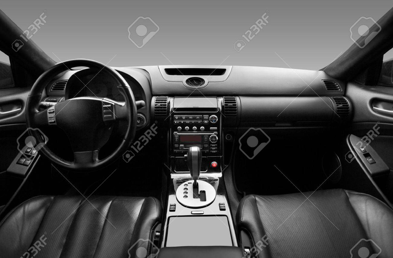 View Of The Interior Of A Modern Automobile Showing The Dashboard ...