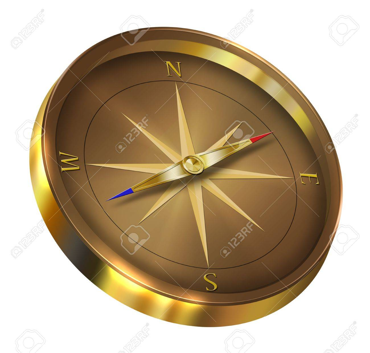 Bronze compass isolated on white background Stock Photo - 9742102