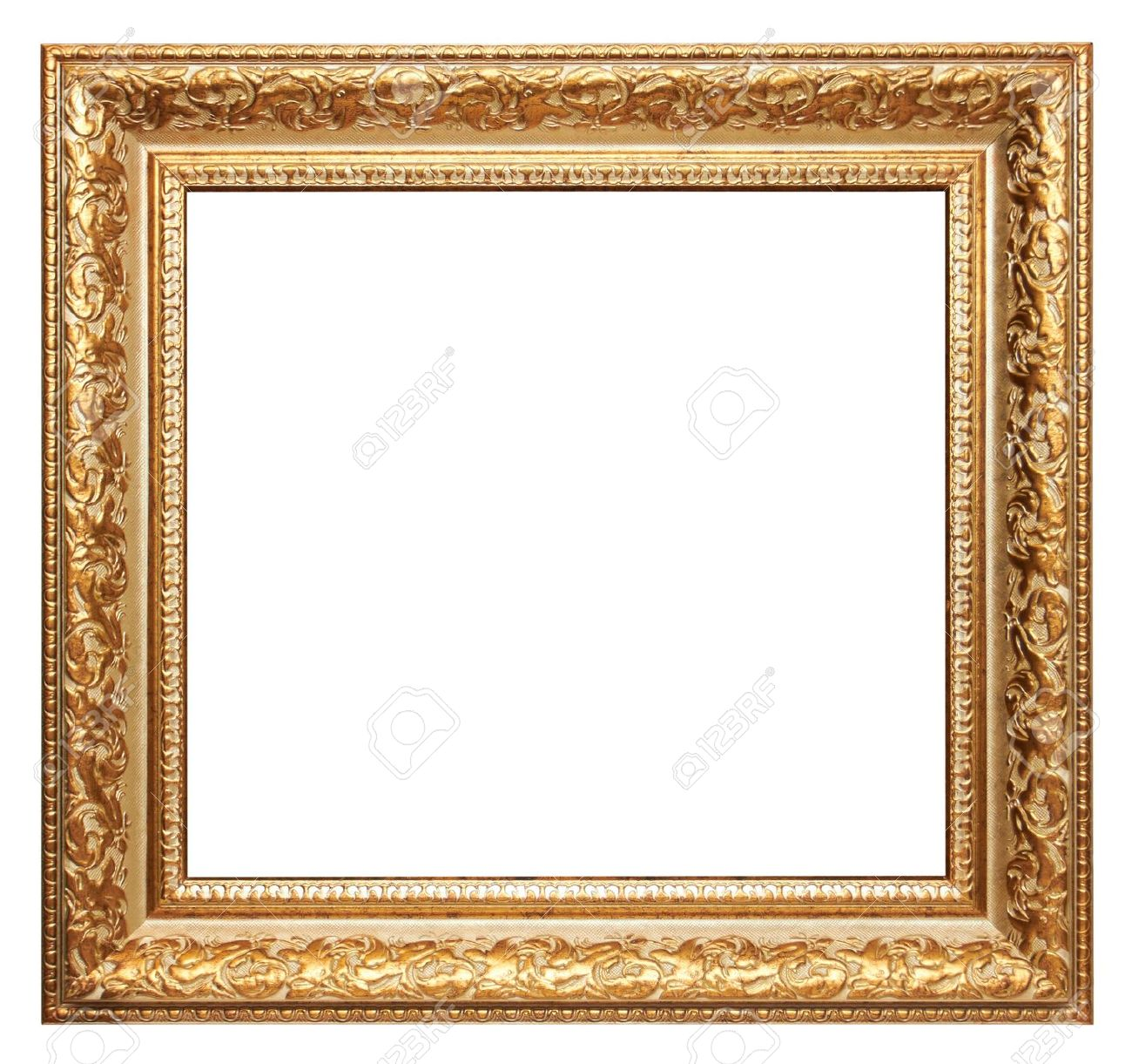 Gold Picture Frame Isolated On White Stock Photo, Picture And ...