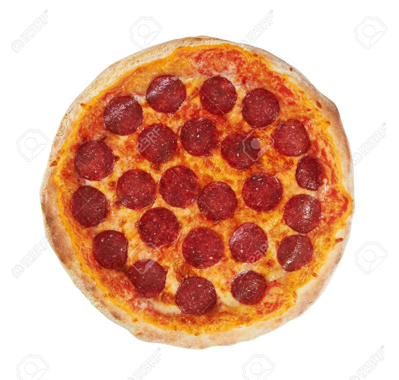 Pepperoni Pizza from the top, isolated on white - 24220138