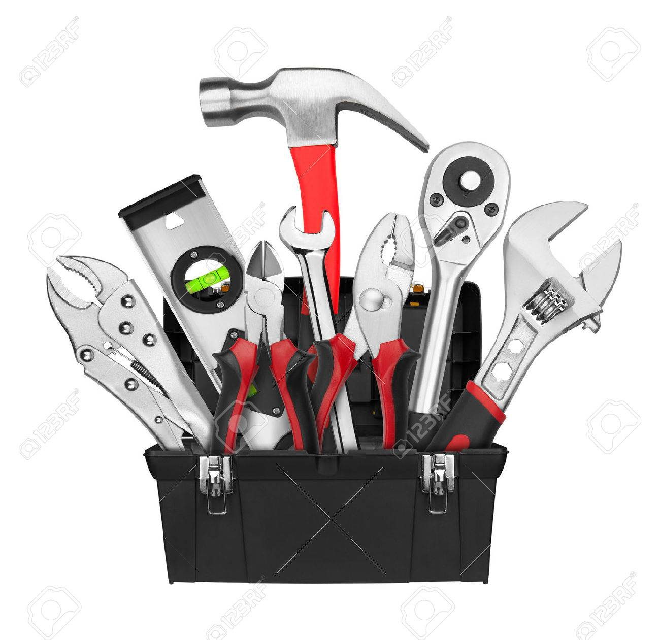 Many Tools in tool box, isolated on white background - 30916334