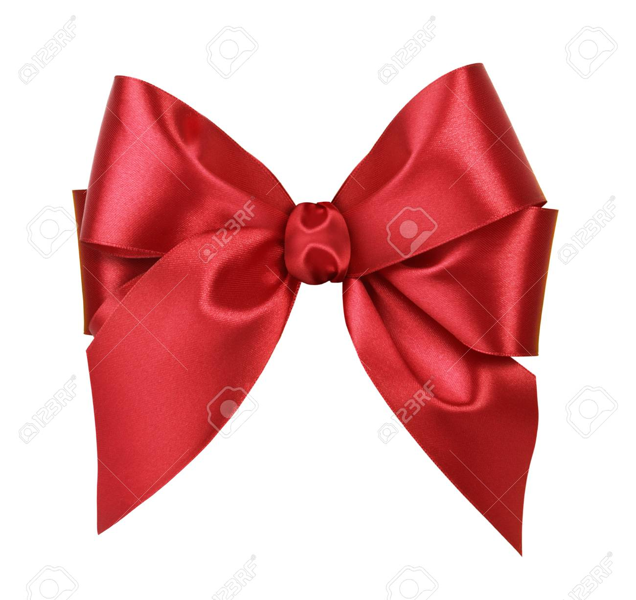 Red satin gift bow. Isolated on white background - 37634021