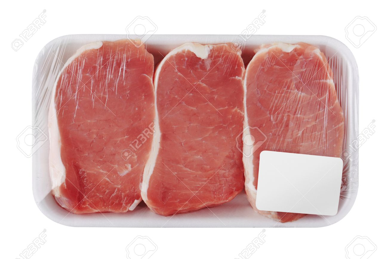 Fresh Raw Meat in package, isolated on white background - 40693732
