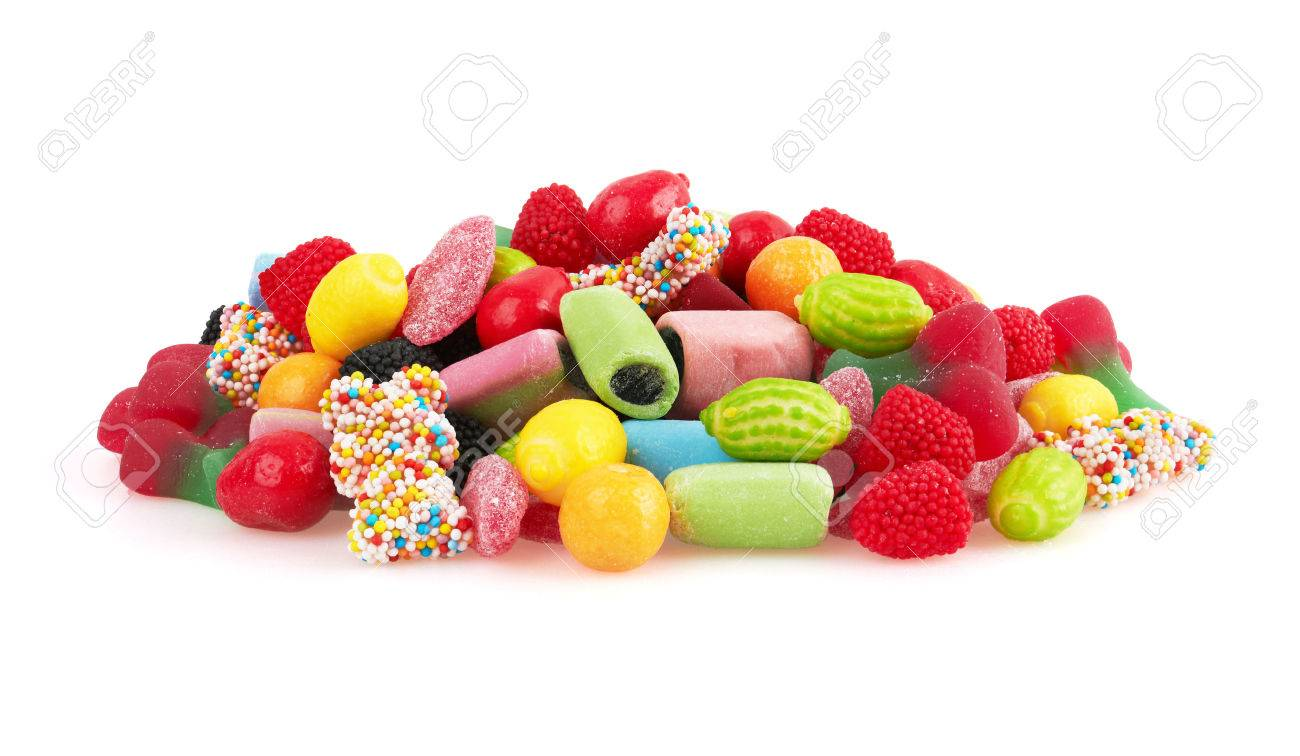 Sweet colorful candy, isolated on white background. Close-up - 44493882