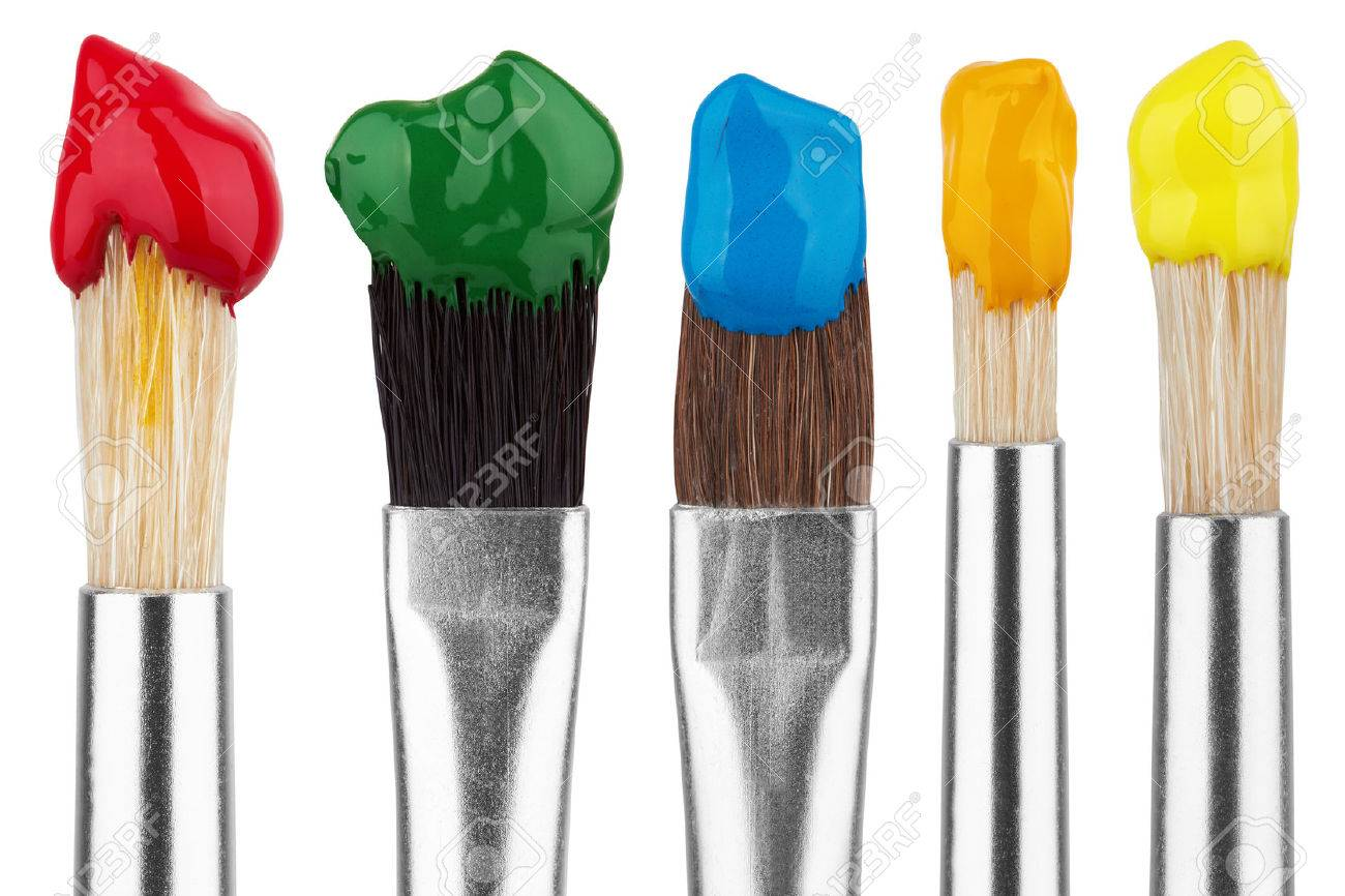 Brushes with colorful paints, isolated on white background - 47279818