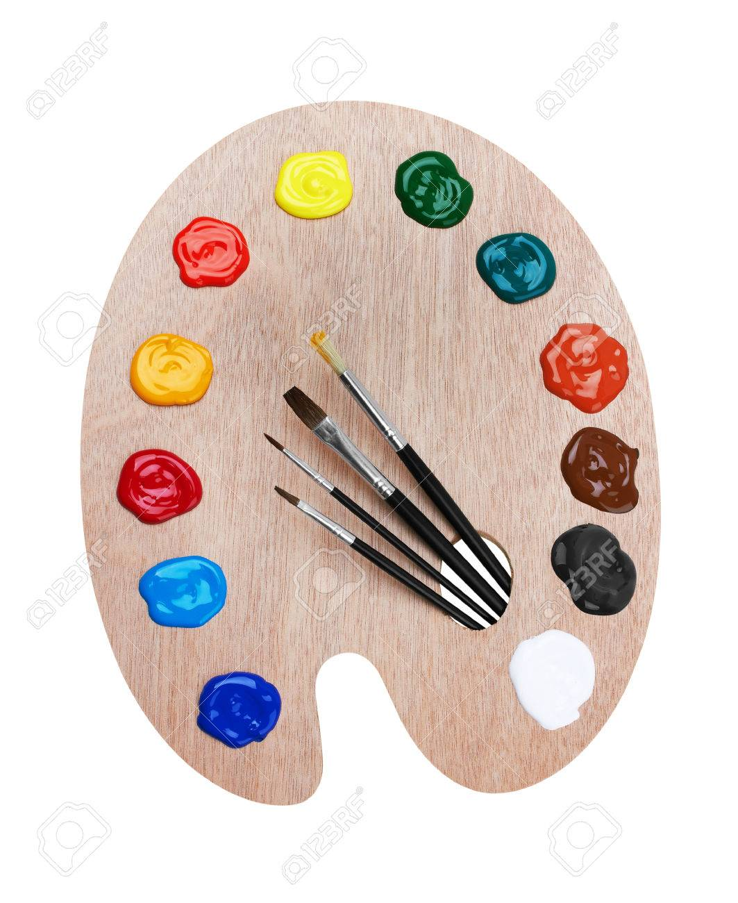 Wooden art palette with paints and brushes, isolated on white background - 48210203