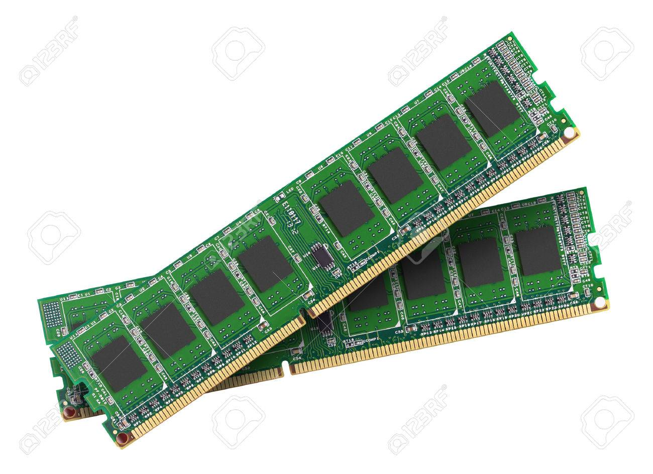 ddr ram memory module isolated on white background stock photo