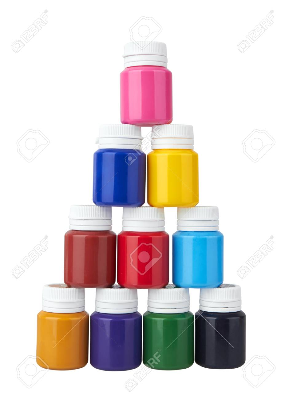 Color gouache jars and color acrylic paints isolated on white background - 116814191