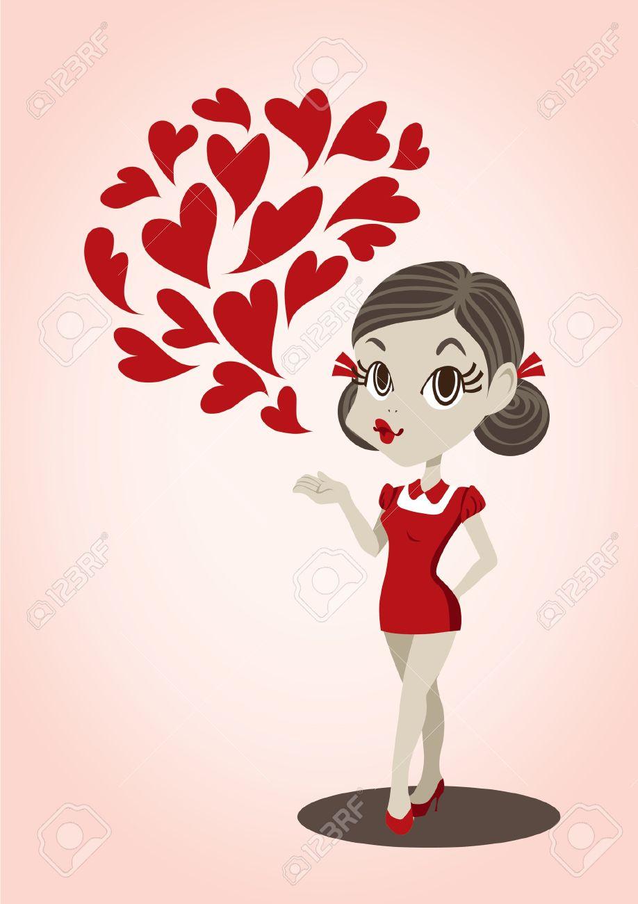 投げキッスかわいい女の子のベクトル イラストのイラスト素材ベクタ