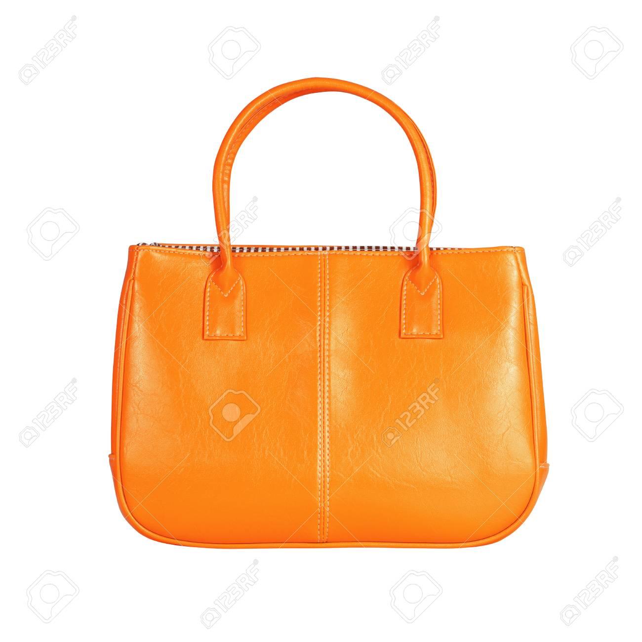 0342af90e Foto de archivo - Imagen de alta resolución de un bolso de cuero de color  naranja aislada sobre fondo blanco. Trazado de recorte de alta calidad  incluido.