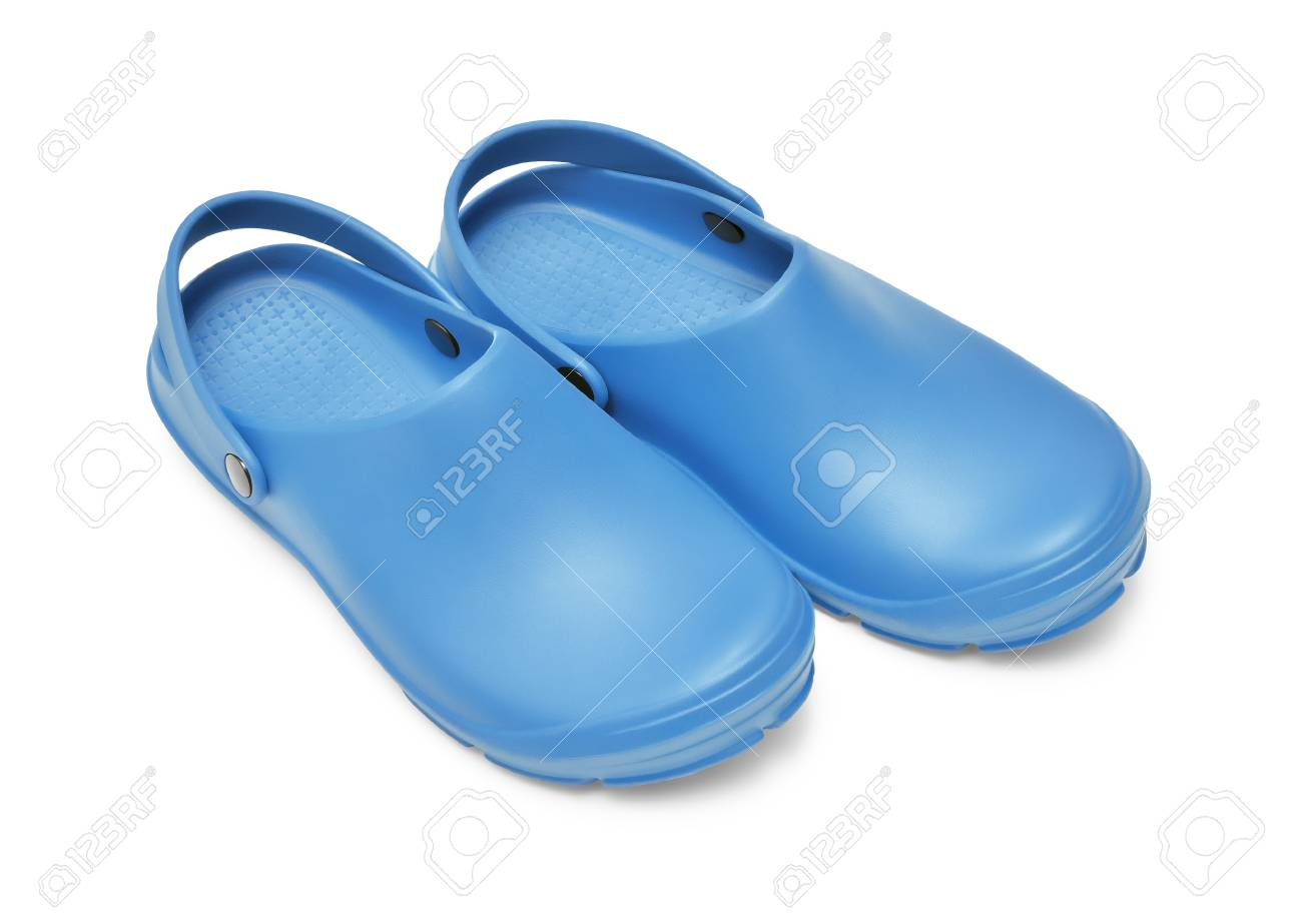 8016f03dc Crocs shoes. A pair of blue clogs isolated on white background w  path Stock