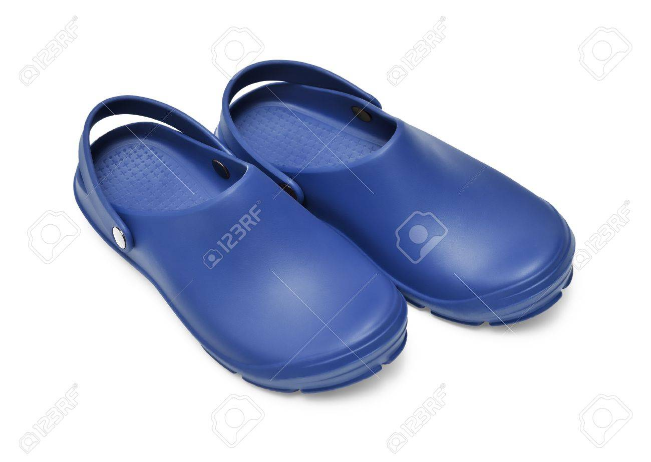 cb64daeb8 Crocs shoes. A pair of dark blue clogs isolated on white background w  path