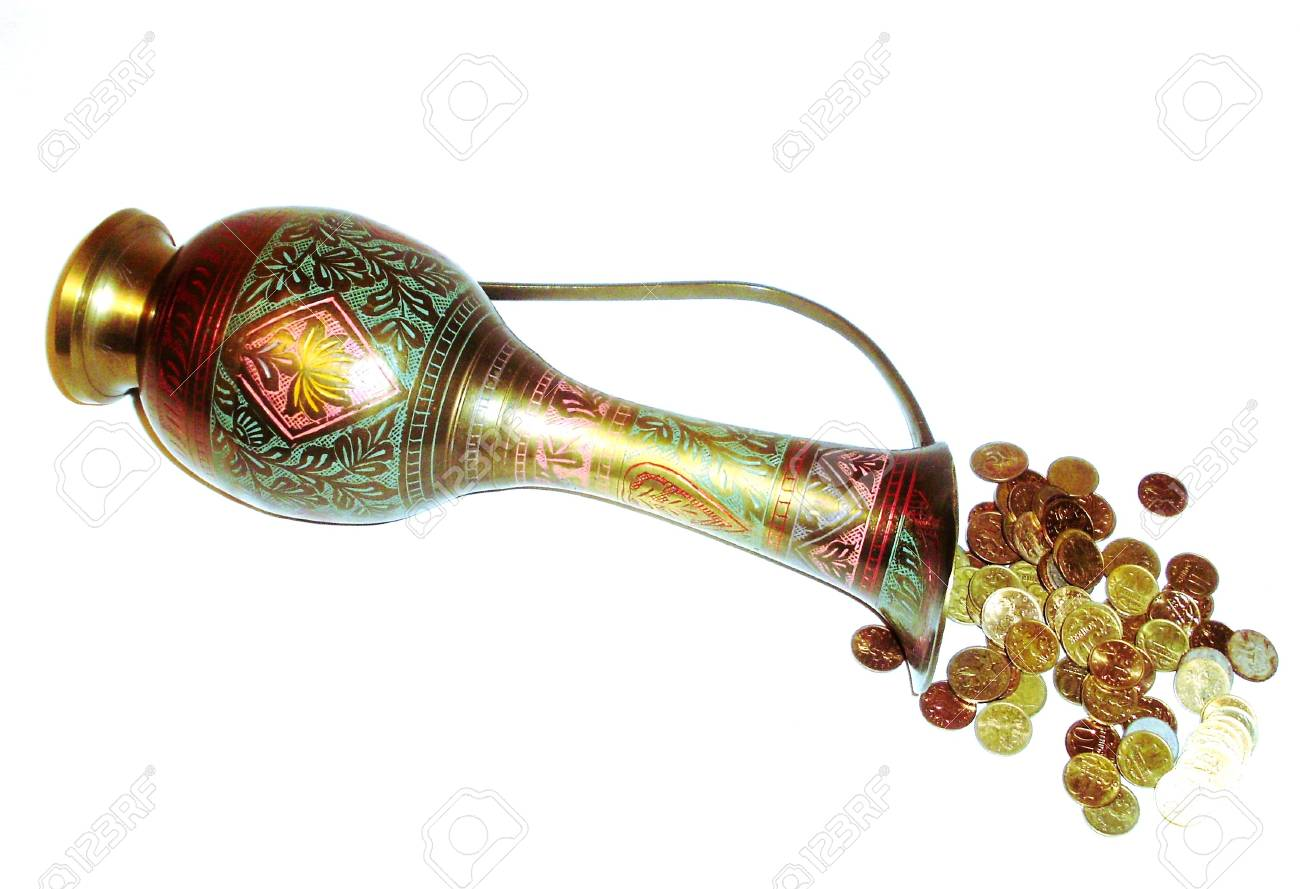 Old copper pitcher and coins. Stock Photo - 6377477
