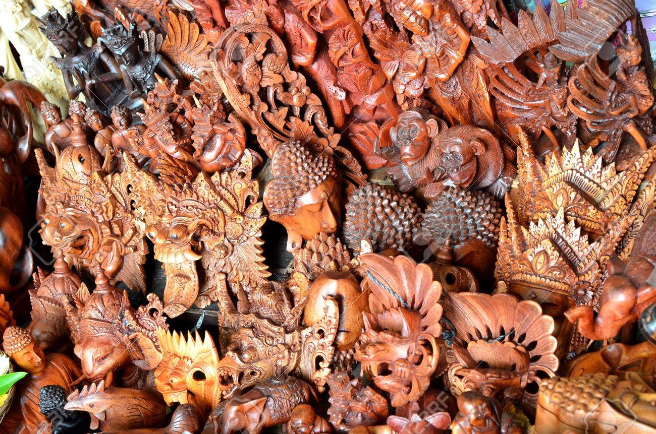 Typical Souvenirs And Handicrafts Of Bali At The Famous Ubud Stock