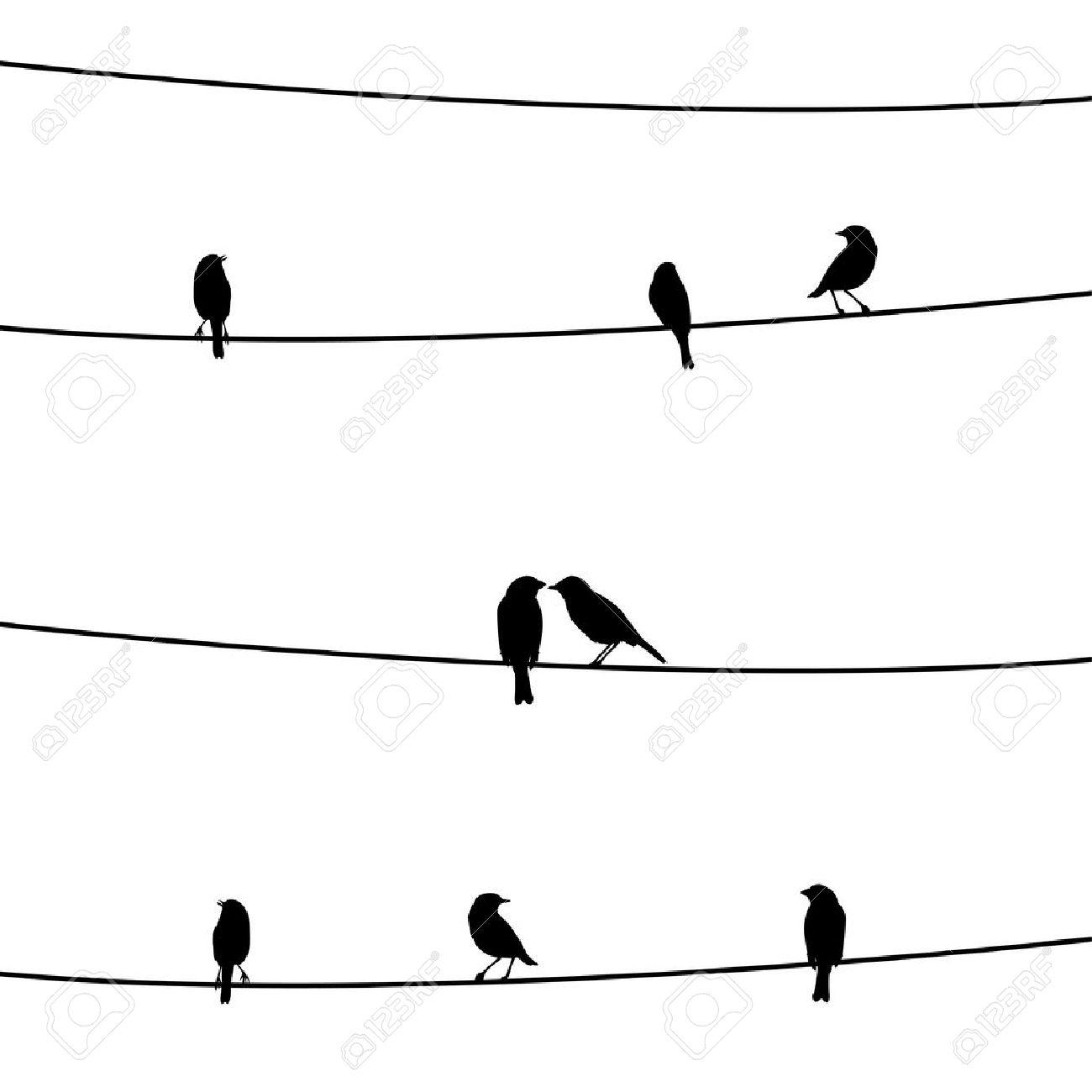 Vögel Auf Dem Draht Lizenzfrei Nutzbare Vektorgrafiken, Clip Arts ...